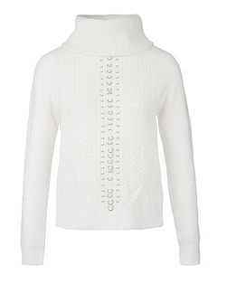 Rings Embellished Cable Knit Jumper