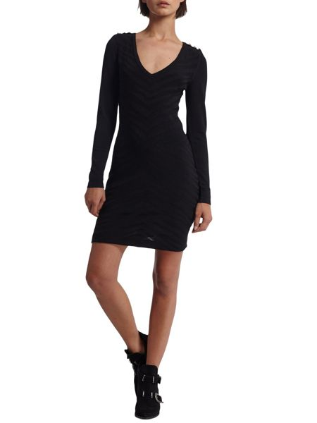 Morgan Zebra Pattern Embossed Knit Dress