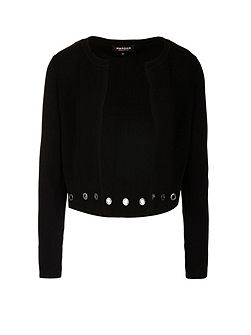 Eyelets Embellished Knitted Cardigan