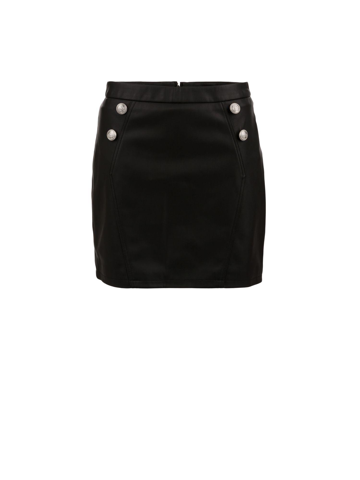 Morgan Morgan Leather-Look Button-Detail Skirt, Black