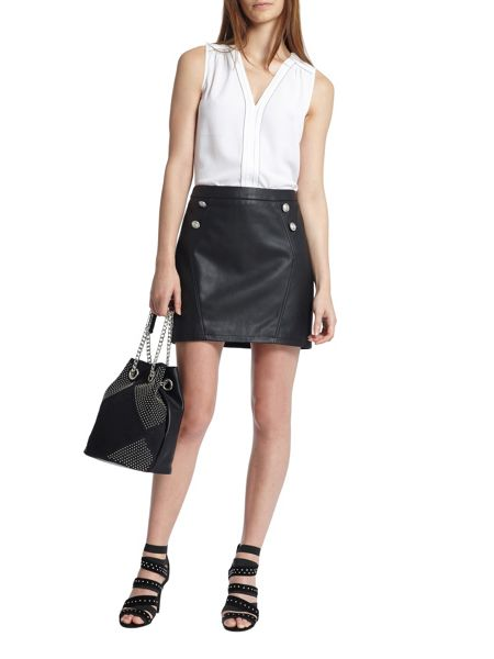 Morgan Leather-Look Button-Detail Skirt