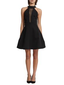 Morgan Neoprene and Fishnet Skater Dress