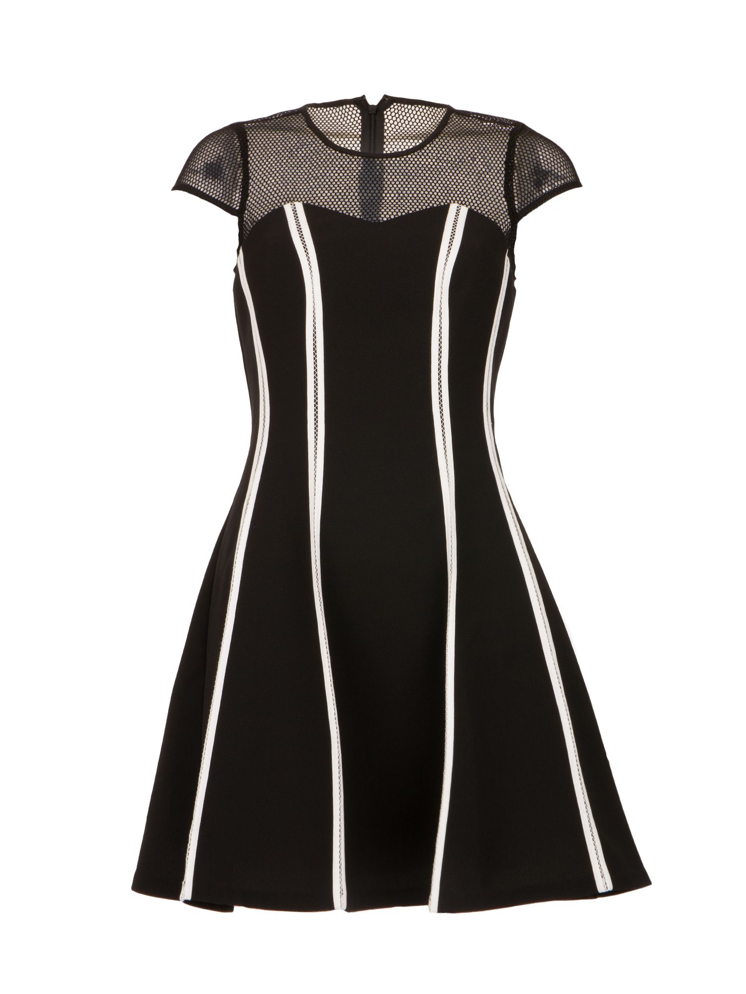 Morgan Contrasting Paneled Dress, Black