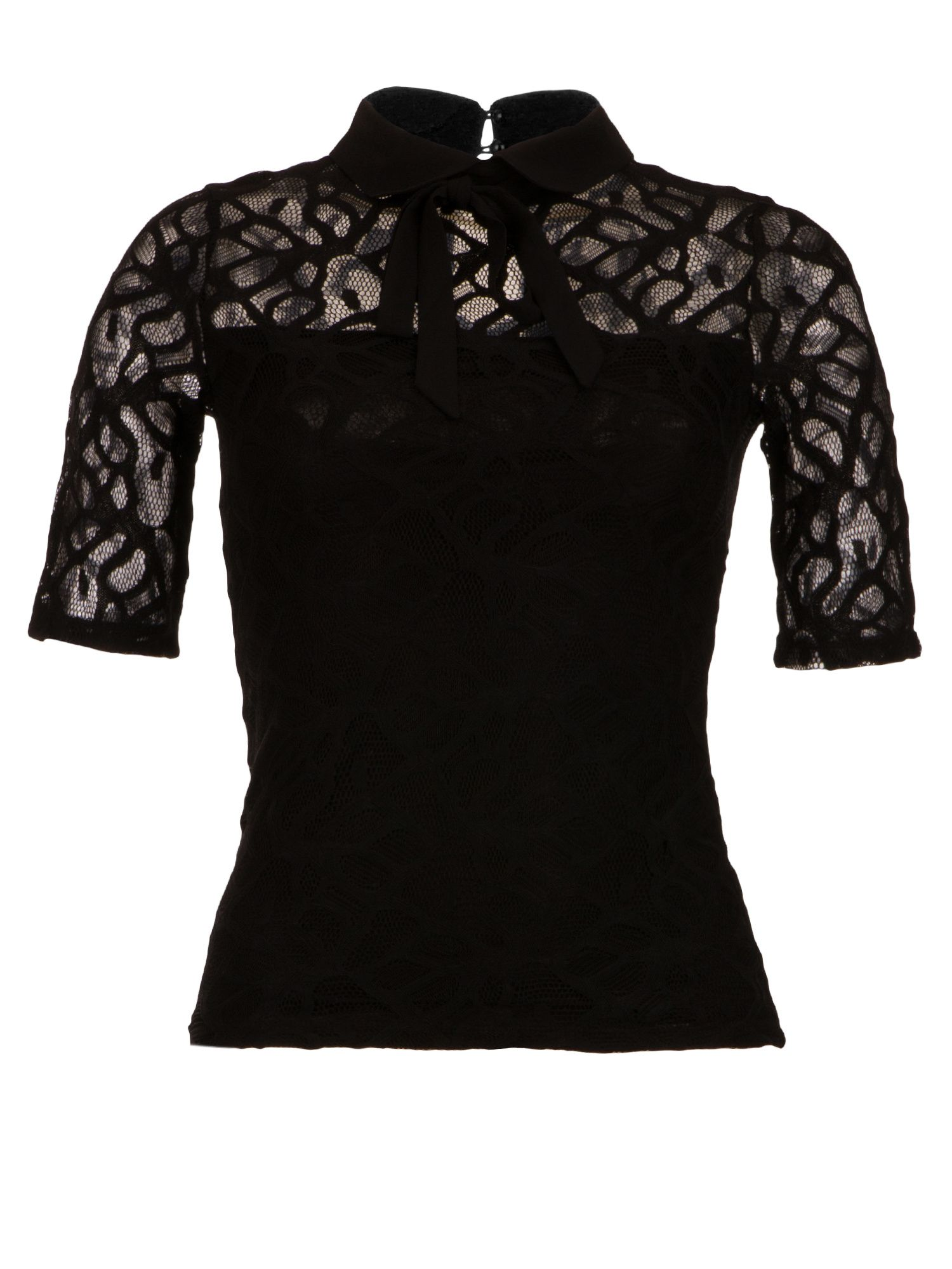 Morgan Lavalliere Tie Lace Top, Black