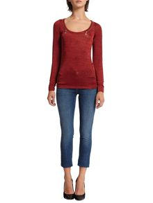 Morgan Zips Embellished Knit Top
