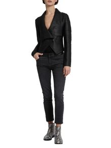 Morgan Faux Leather Draped Jacket