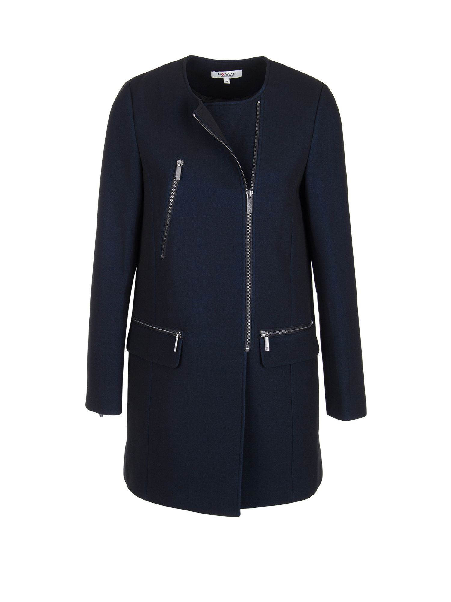 Morgan Crepe Straight Fit Coat, Black