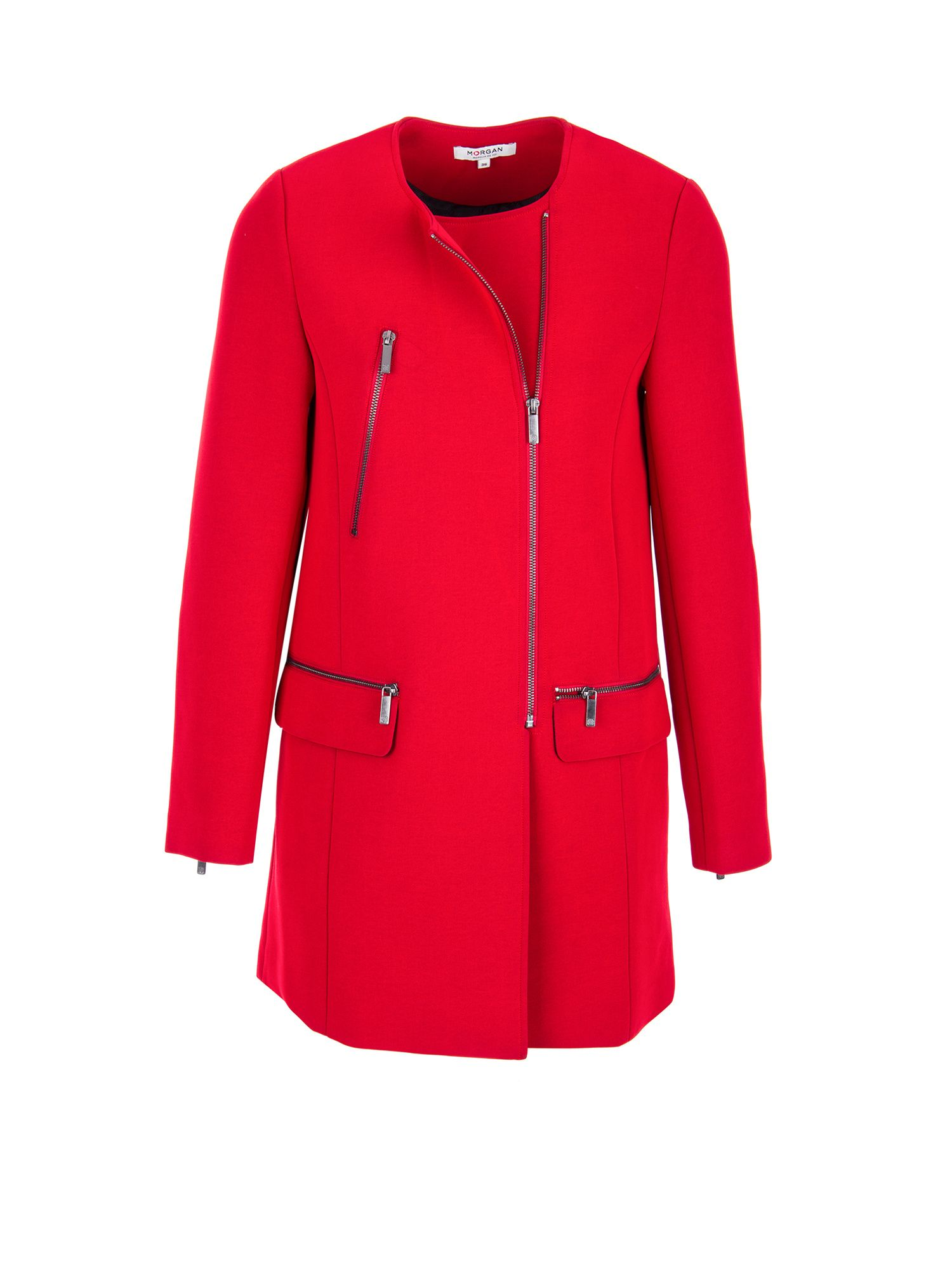 Morgan Crepe Straight Fit Coat, Red