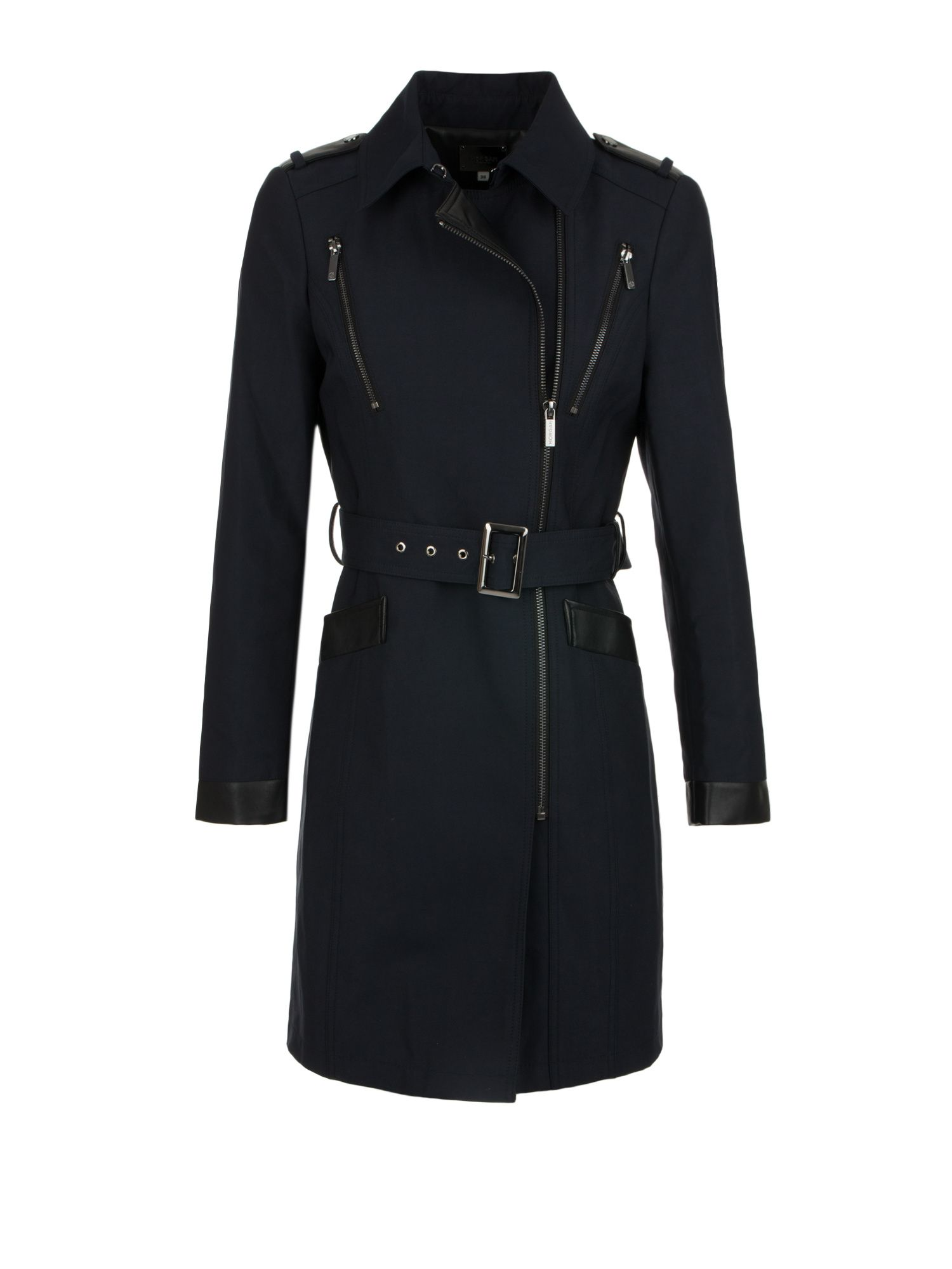 Morgan Sergé and Faux Leather Trench Coat Navy