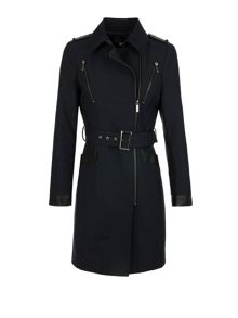 Morgan Sergé and Faux Leather Trench Coat