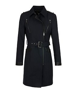 Sergé and Faux Leather Trench Coat