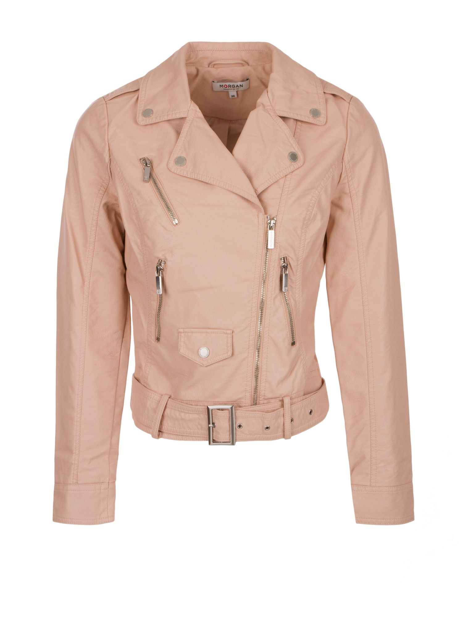 Morgan Faux Leather Bike Style Jacket, Light Pink