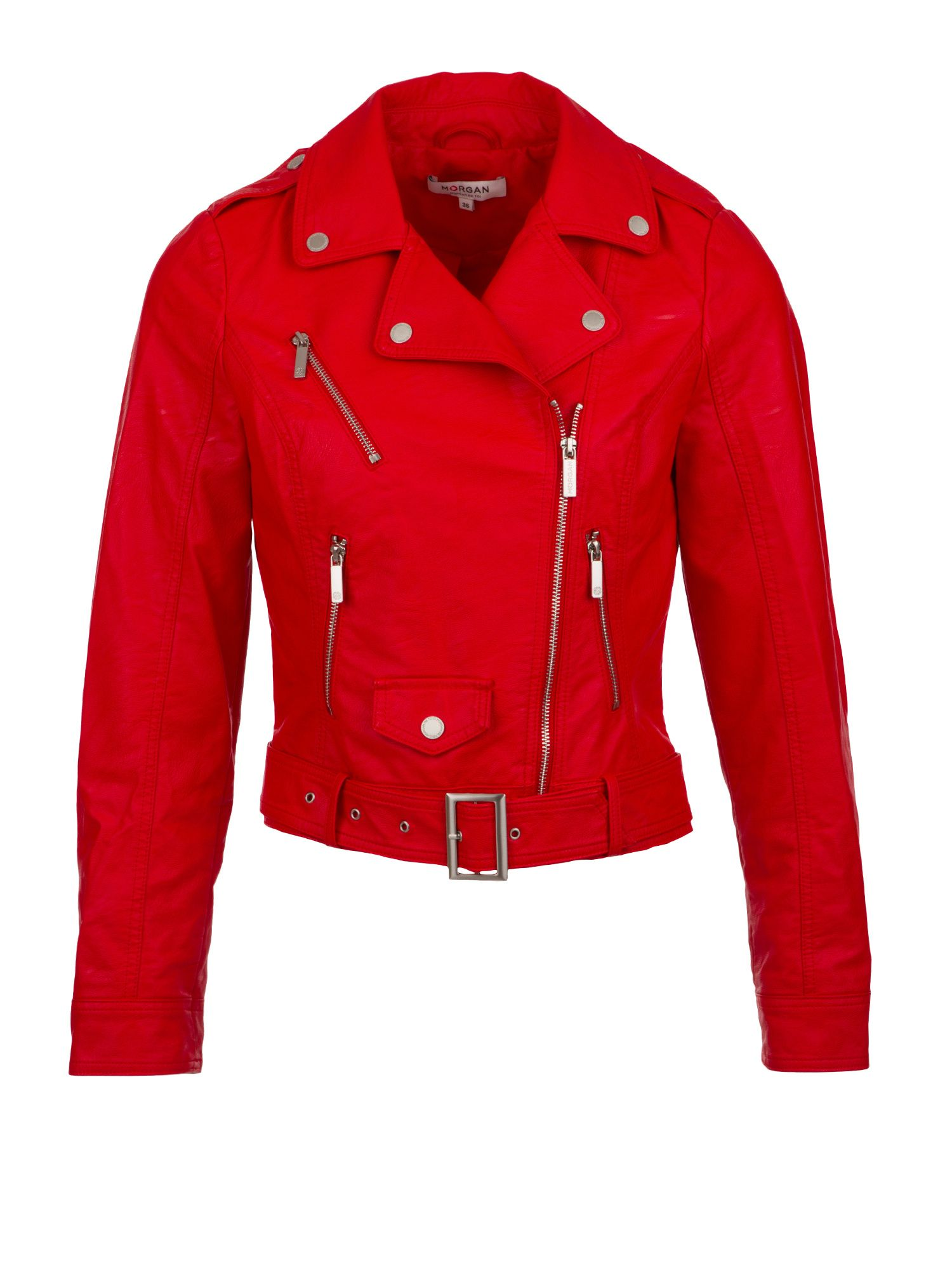 Morgan Faux Leather Bike Style Jacket Red
