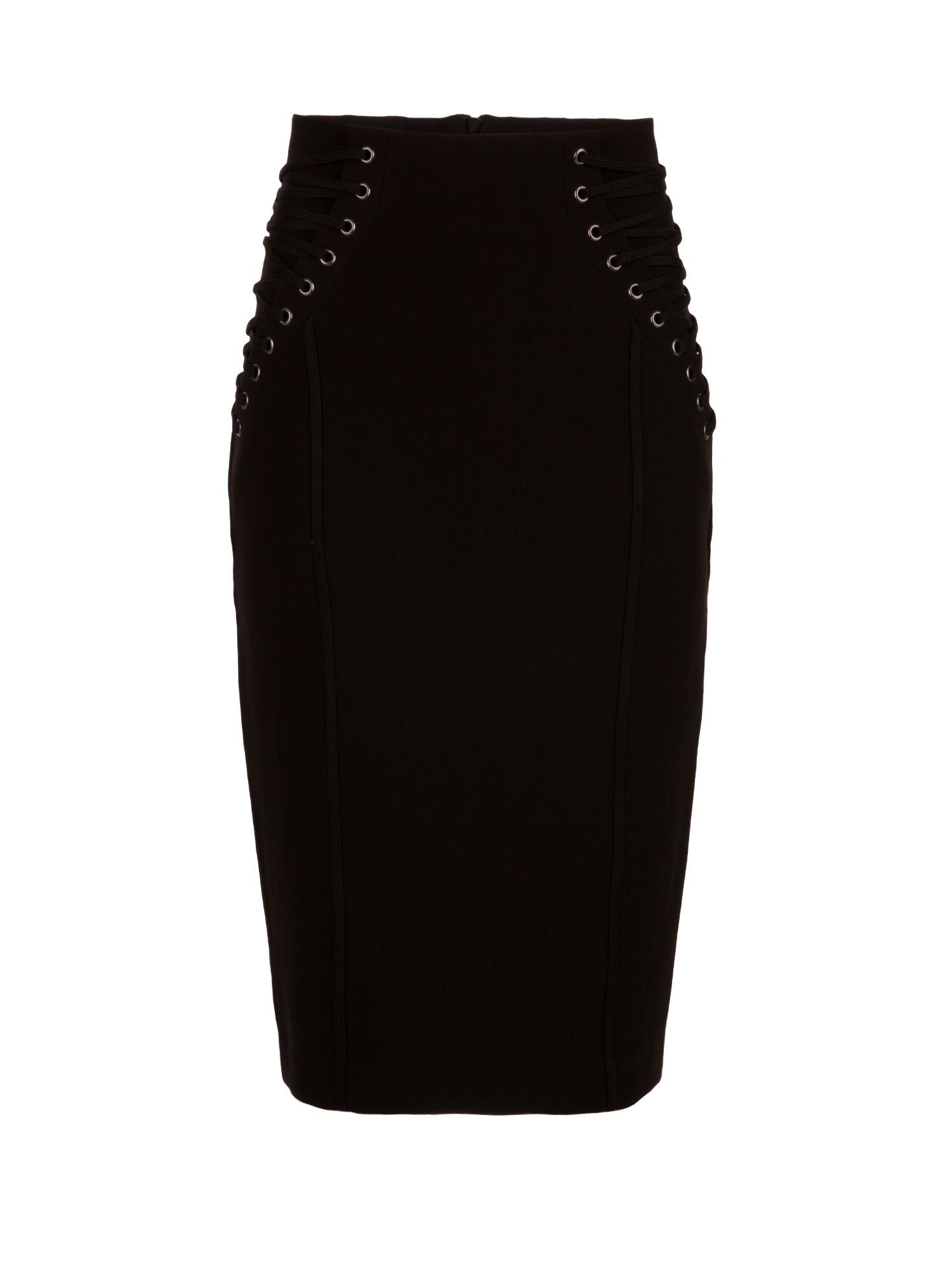 Morgan Lace Up Pencil Skirt, Black