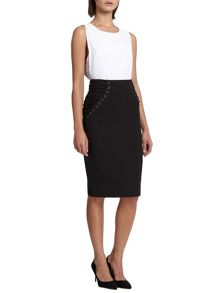 Morgan Lace Up Pencil Skirt