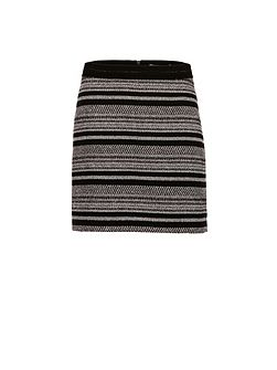 Two-Tone Jacquard Mini Skirt