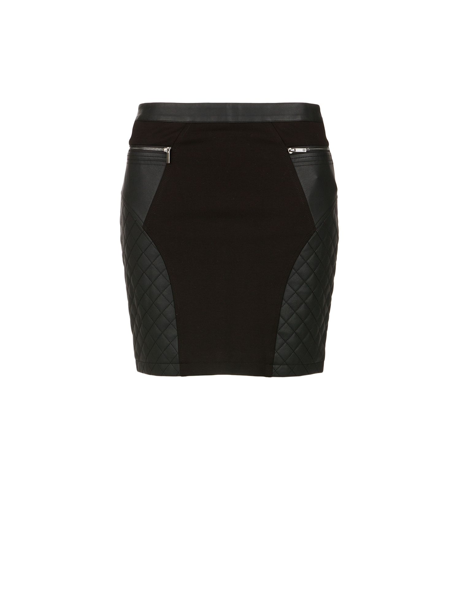 Morgan Faux Leather and Knit Mini Skirt Black