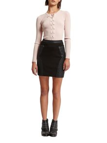 Morgan Faux Leather and Knit Mini Skirt