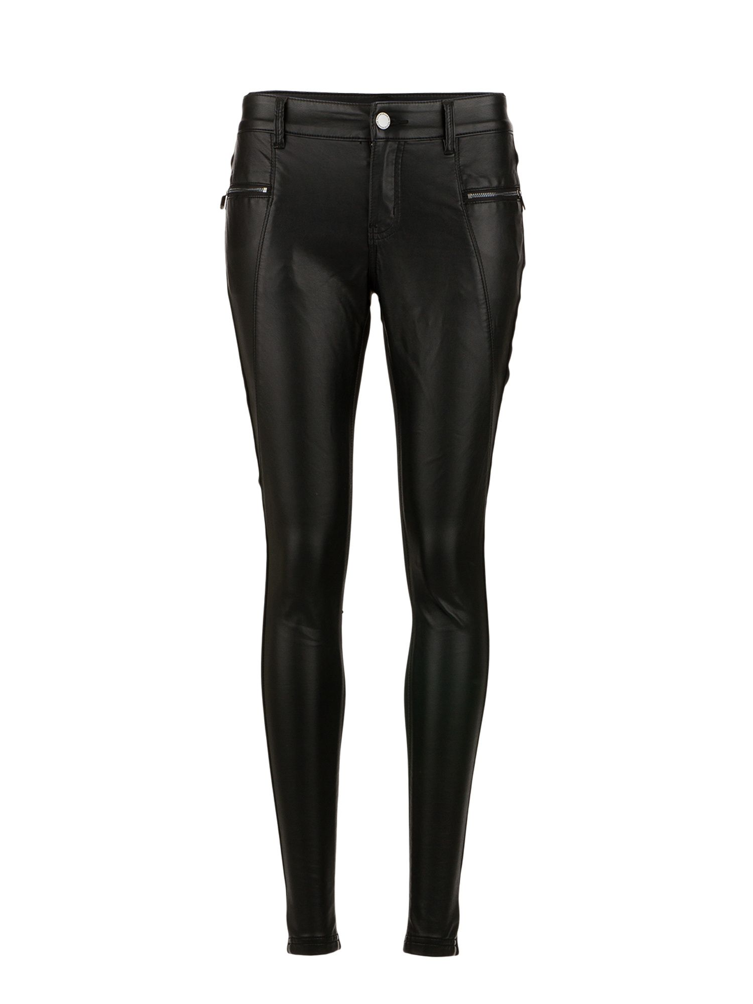Morgan Faux Leather and Knit Biker Pants, Black