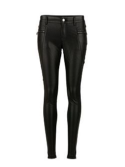 Faux Leather and Knit Biker Pants