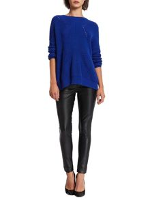 Morgan Faux Leather and Knit Biker Pants