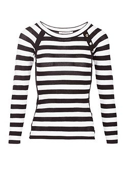 Buttons Ornamented Striped Jumper
