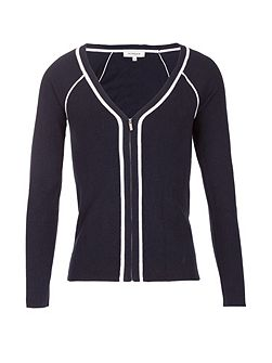 Contrasting Trim Zipped Cardigan