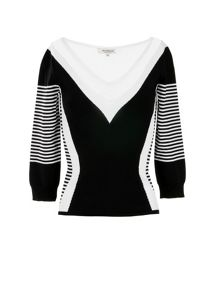 Morgan Fishnet Paneled Graphic Jumper