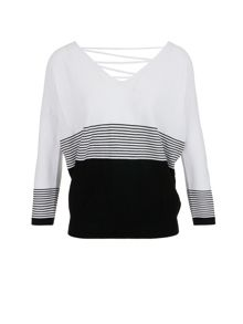 Morgan Back Lace Up Striped Jumper