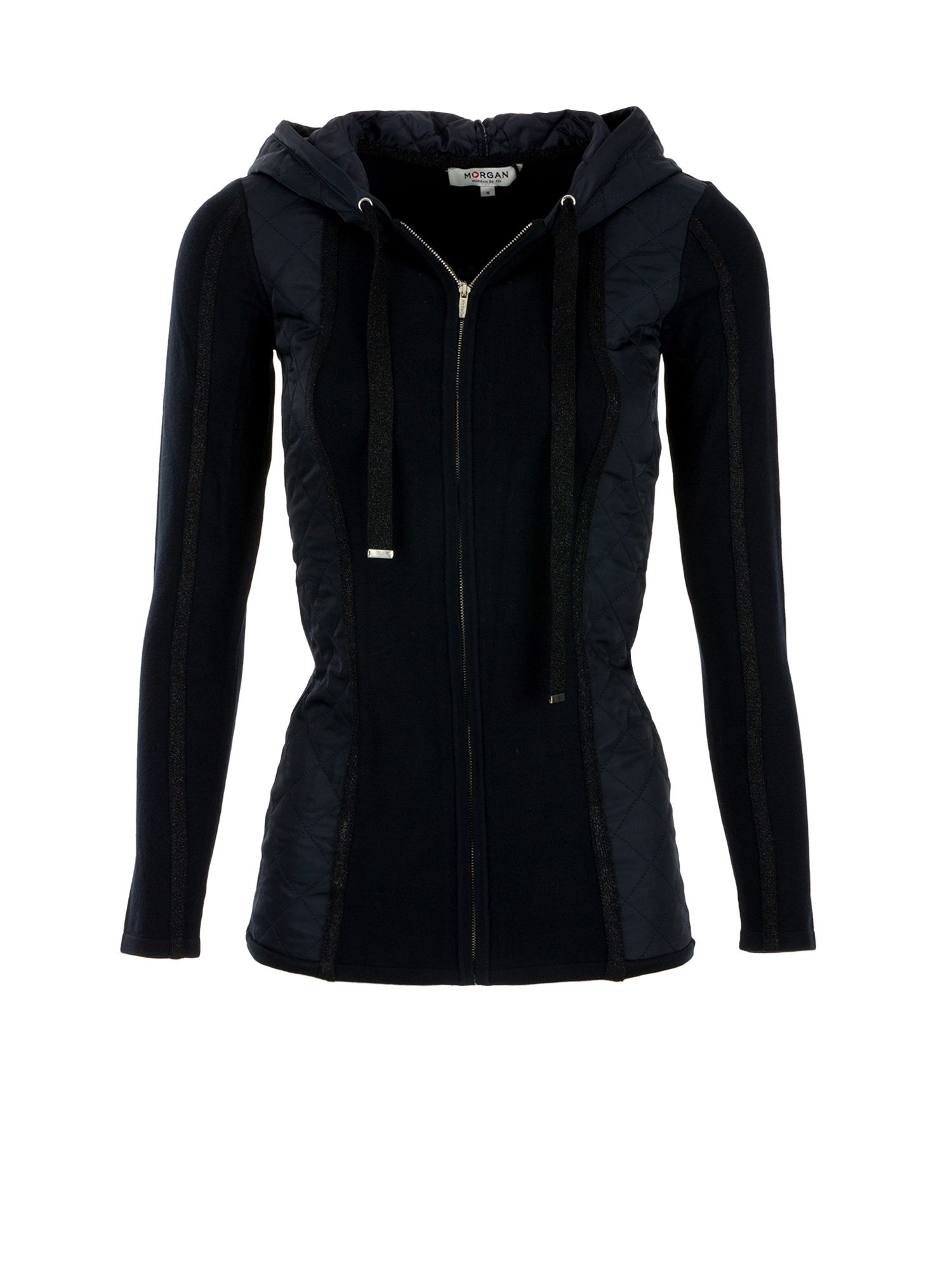 Morgan Quilted Paneled and Knit Cardigan Navy