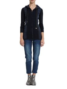 Morgan Quilted Paneled and Knit Cardigan