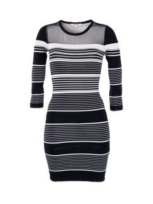 Morgan Striped Knit and Tulle Dress