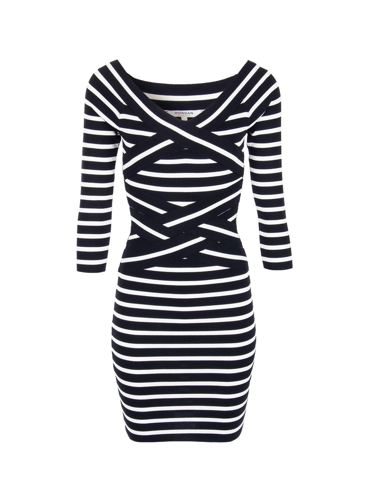 Morgan Criss Cross Collar Striped Dress, Black
