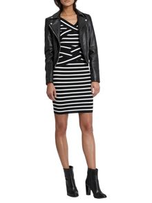 Morgan Criss Cross Collar Striped Dress