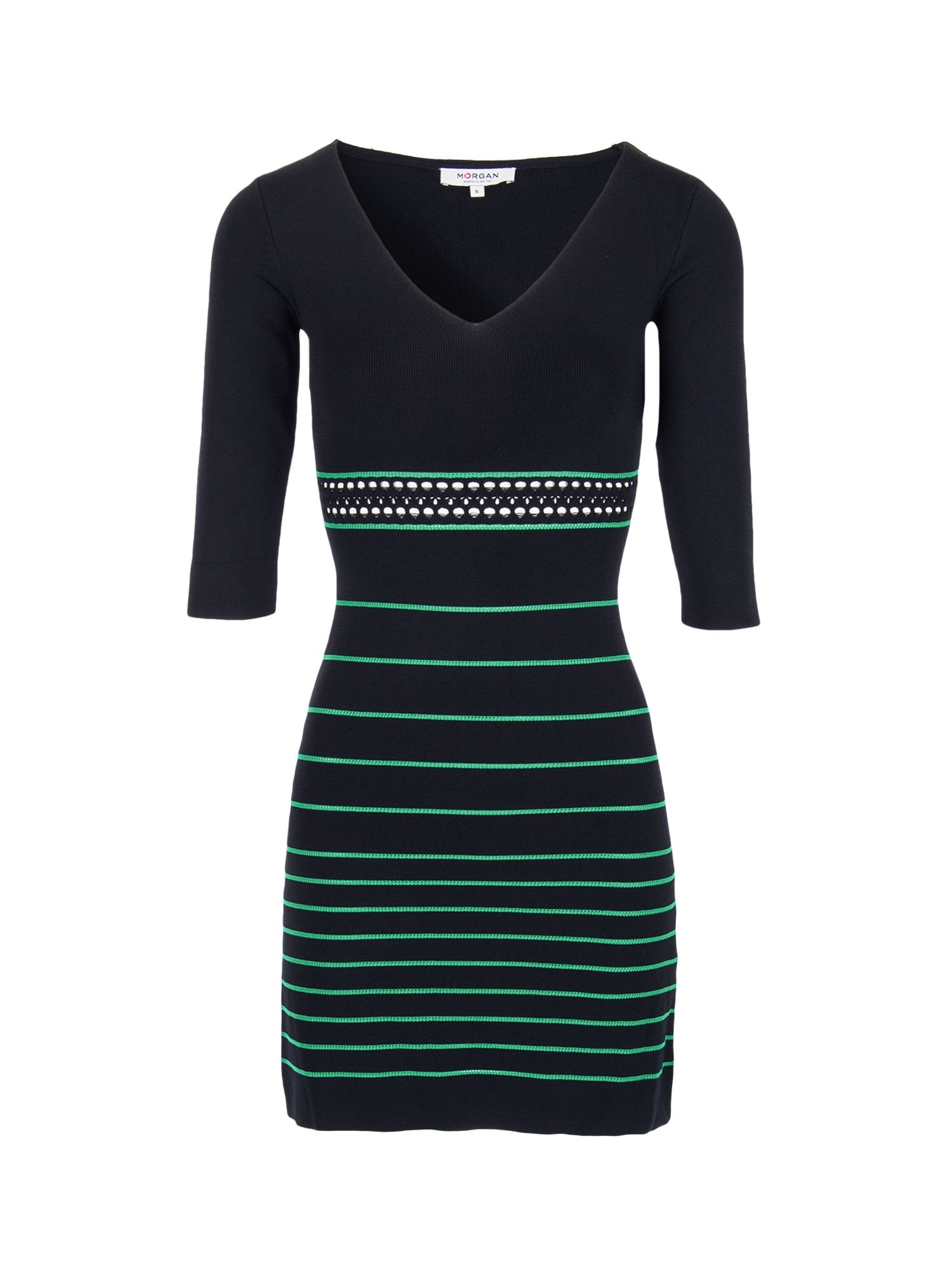 Morgan Openwork Striped Knit Dress Black
