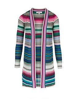 Crochet Knit Longline Striped Cardigan