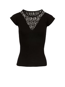 Openwork Knit And Jersey T-Shirt
