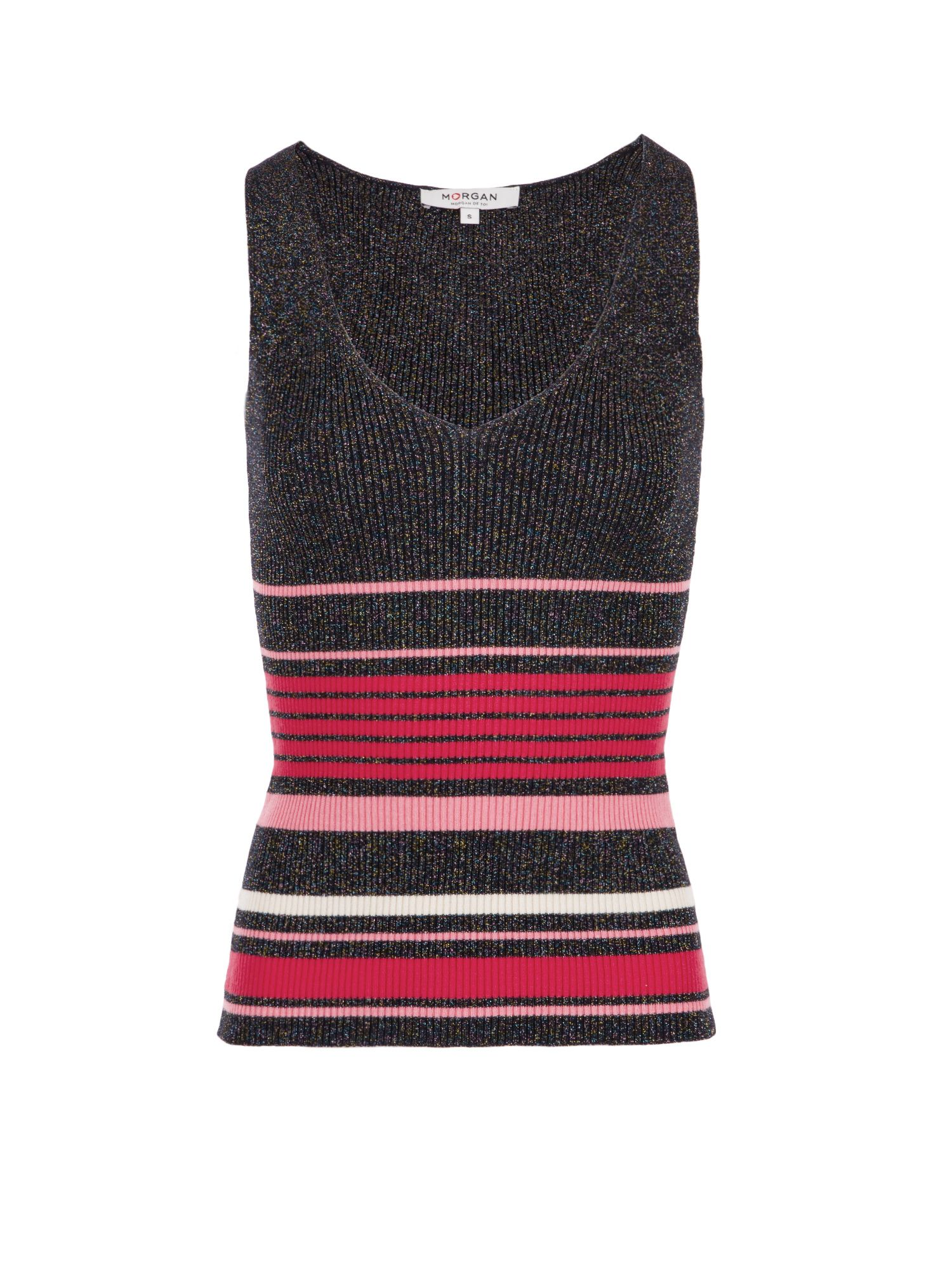 Morgan Striped Lurex Knit Tank Top Pink