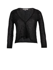 Morgan Shiny Openwork Knit Crop Cardigan