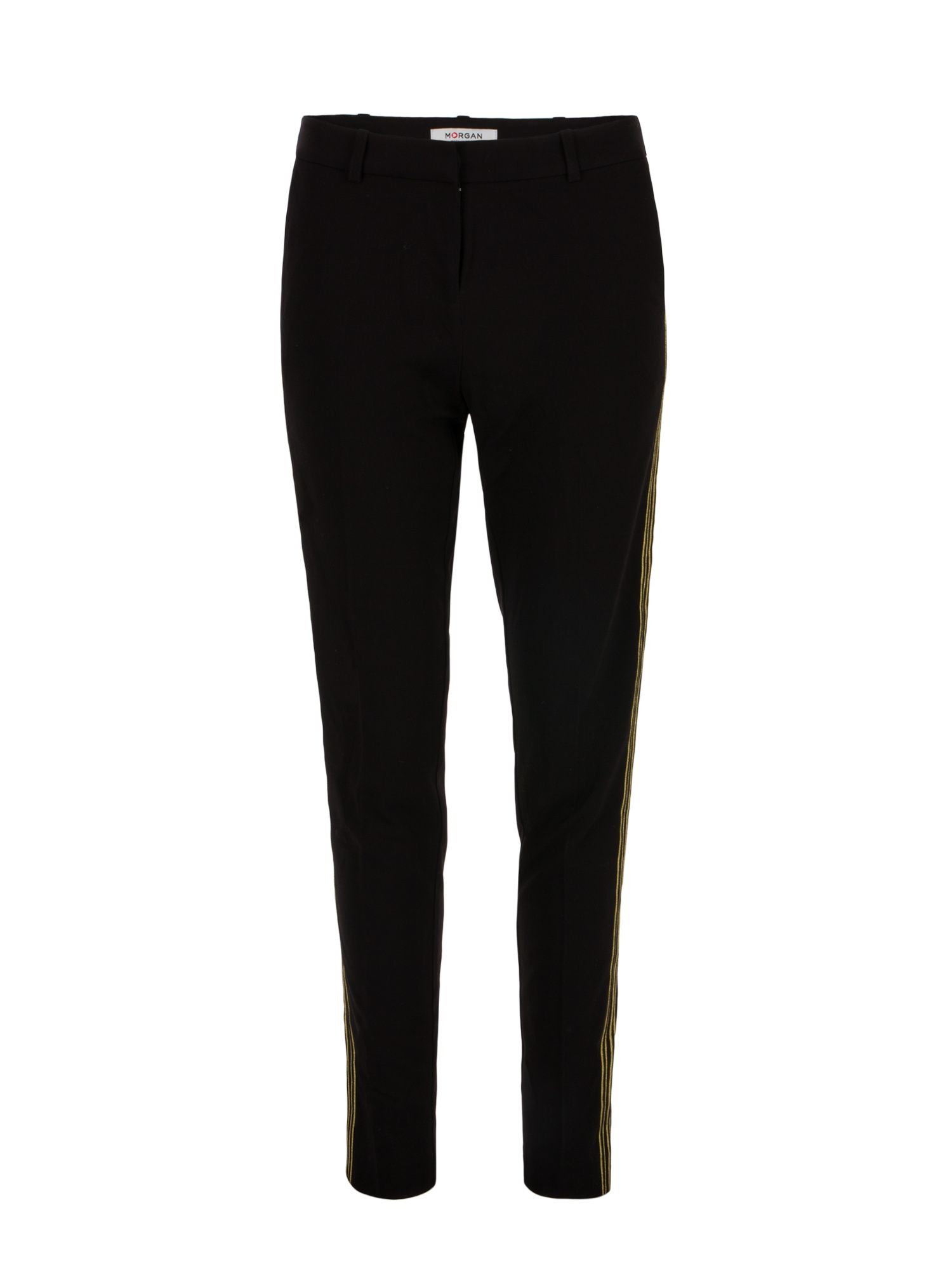 Morgan Gold Trimmed Slim Pants, Black
