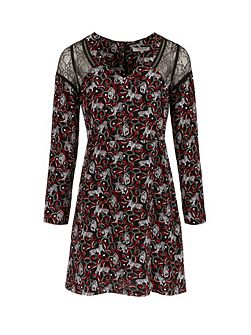 Tigers Print And Lace Dress
