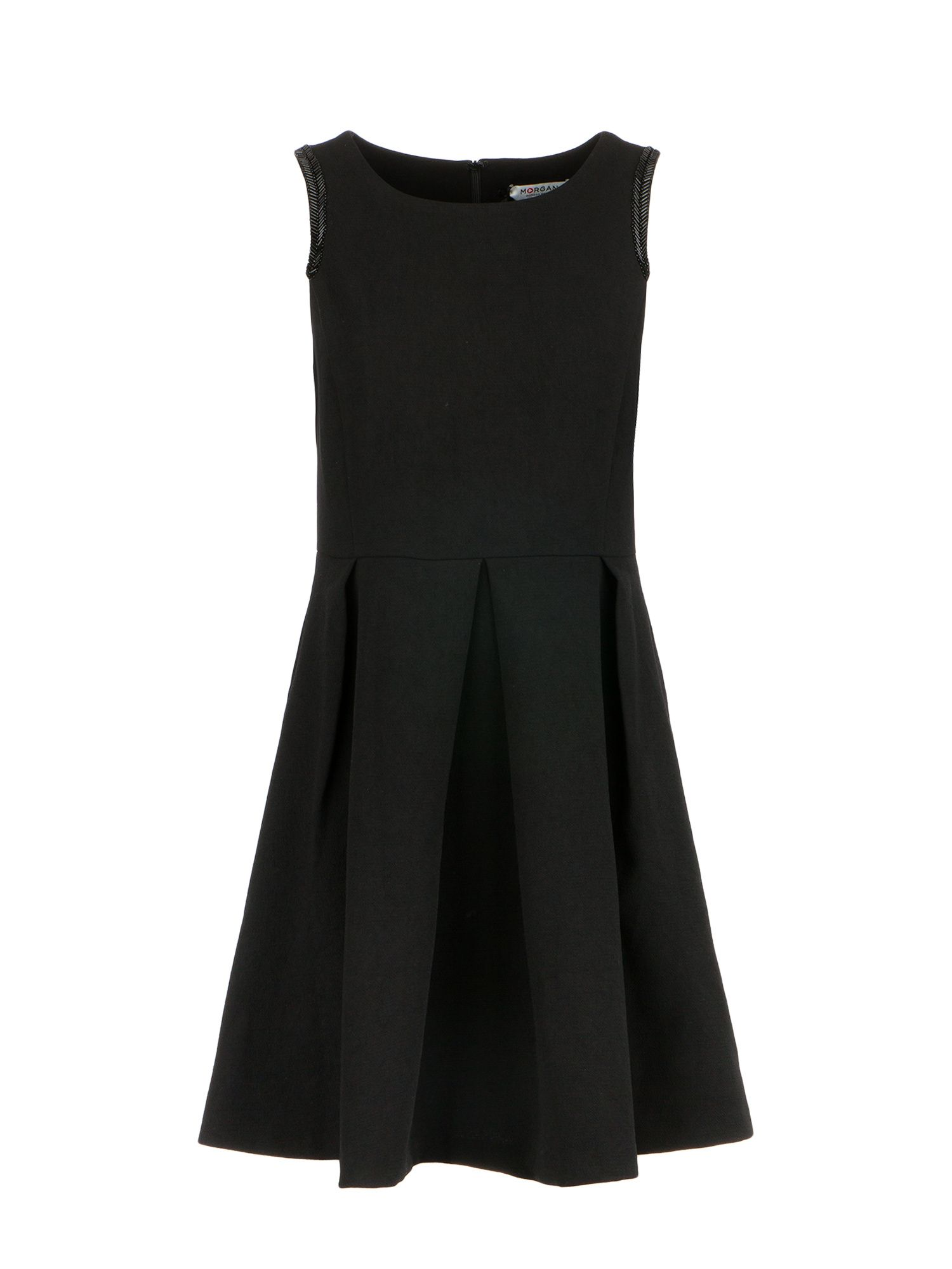 Morgan Embroidered Beads Flare Dress, Black