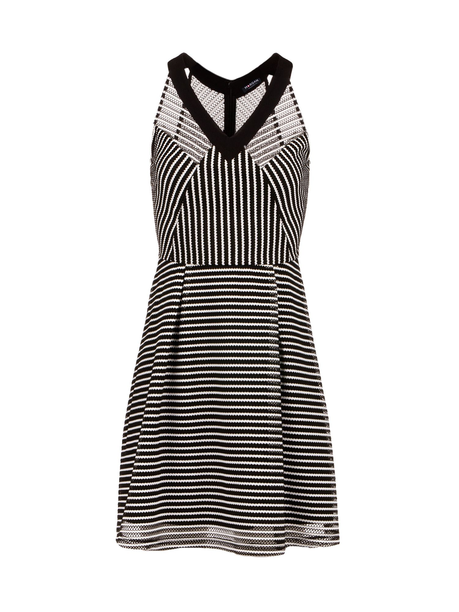 Morgan Two-Tone Openwork Knit Skater Dress, Black