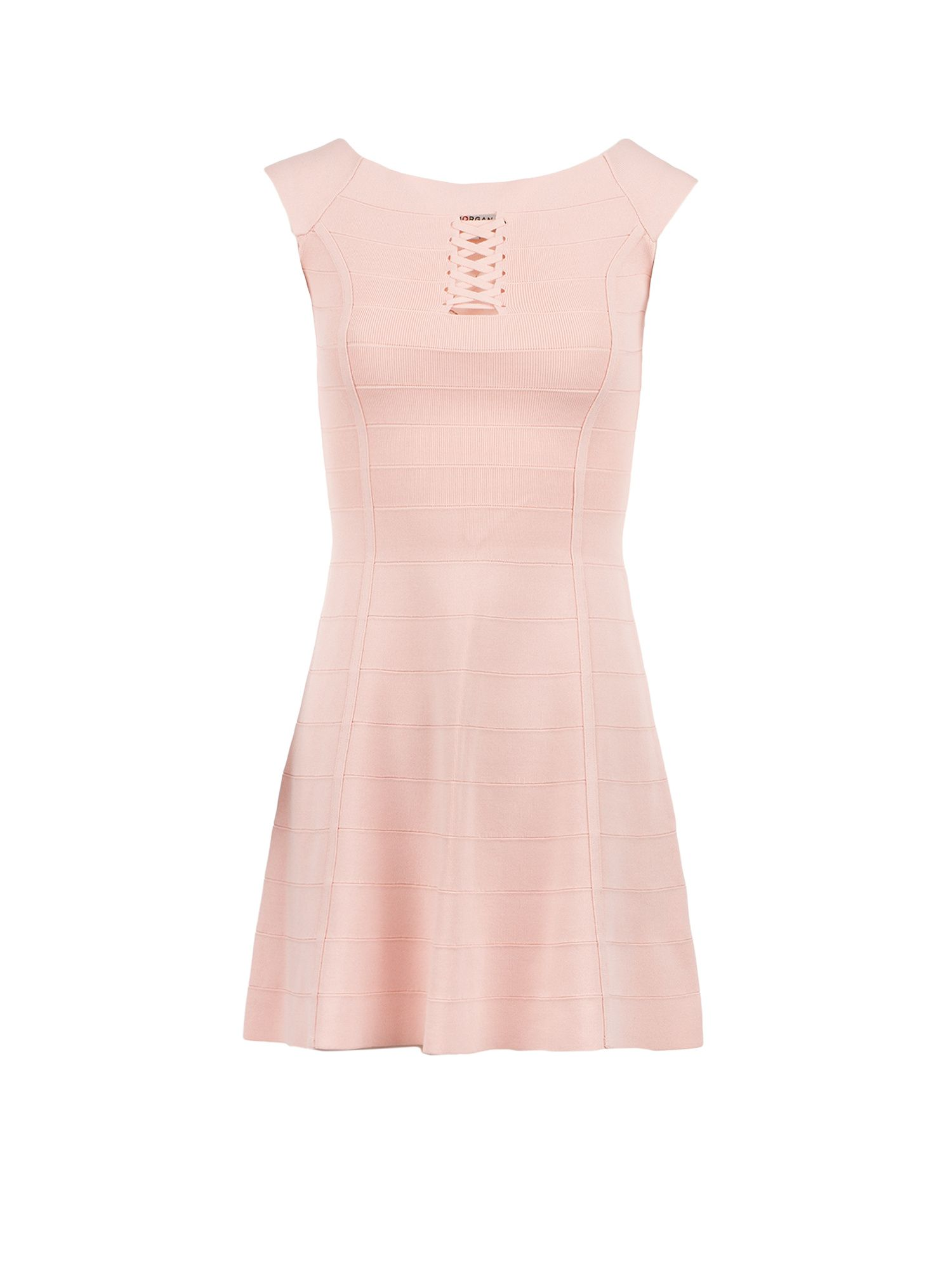Morgan Lace Up Bandage Knit Dress, Light Pink