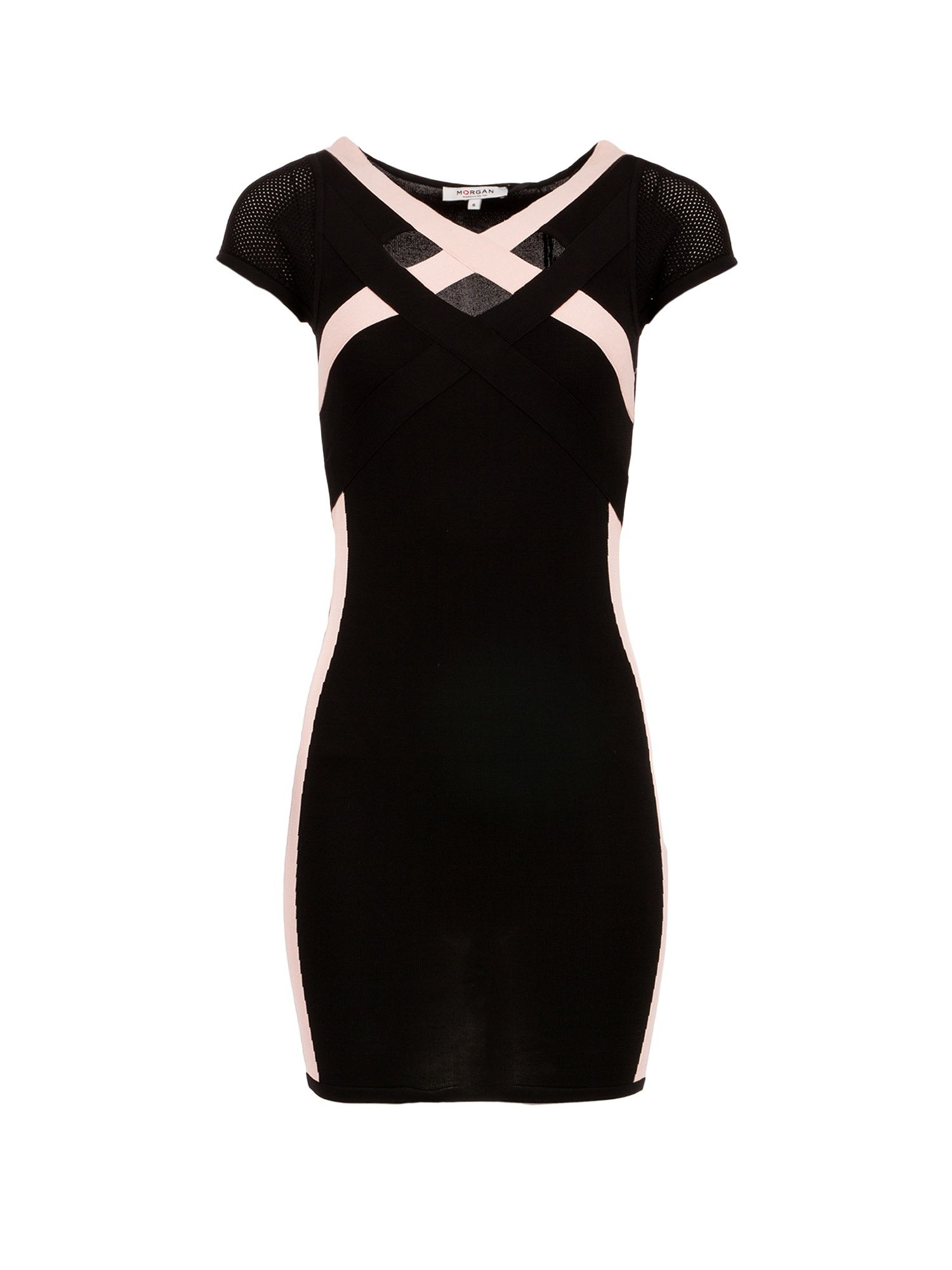 Morgan Criss Cross Neckline Bodycon Dress, Black