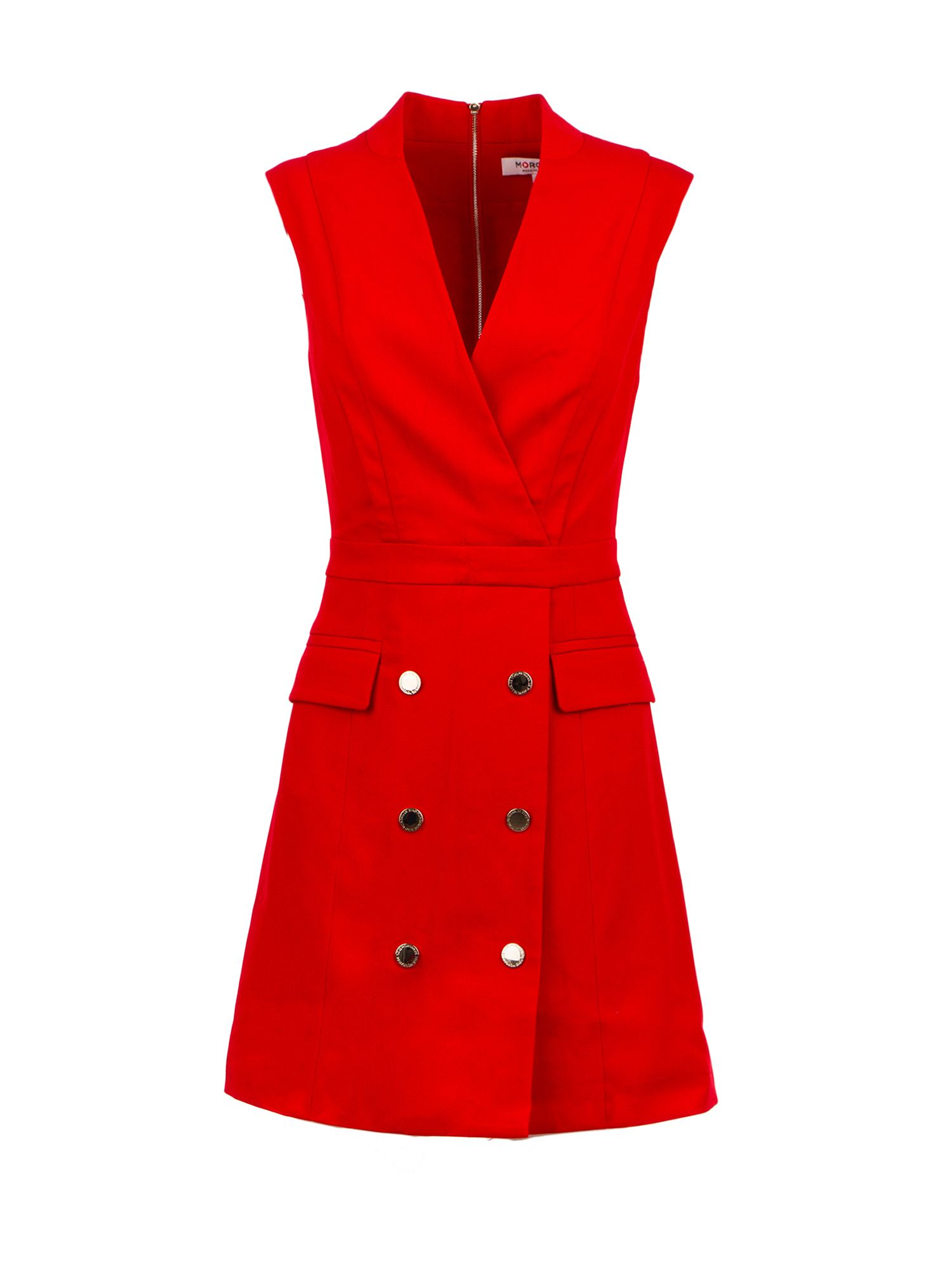 Morgan Gold Buttons Tuxedo Dress, Red