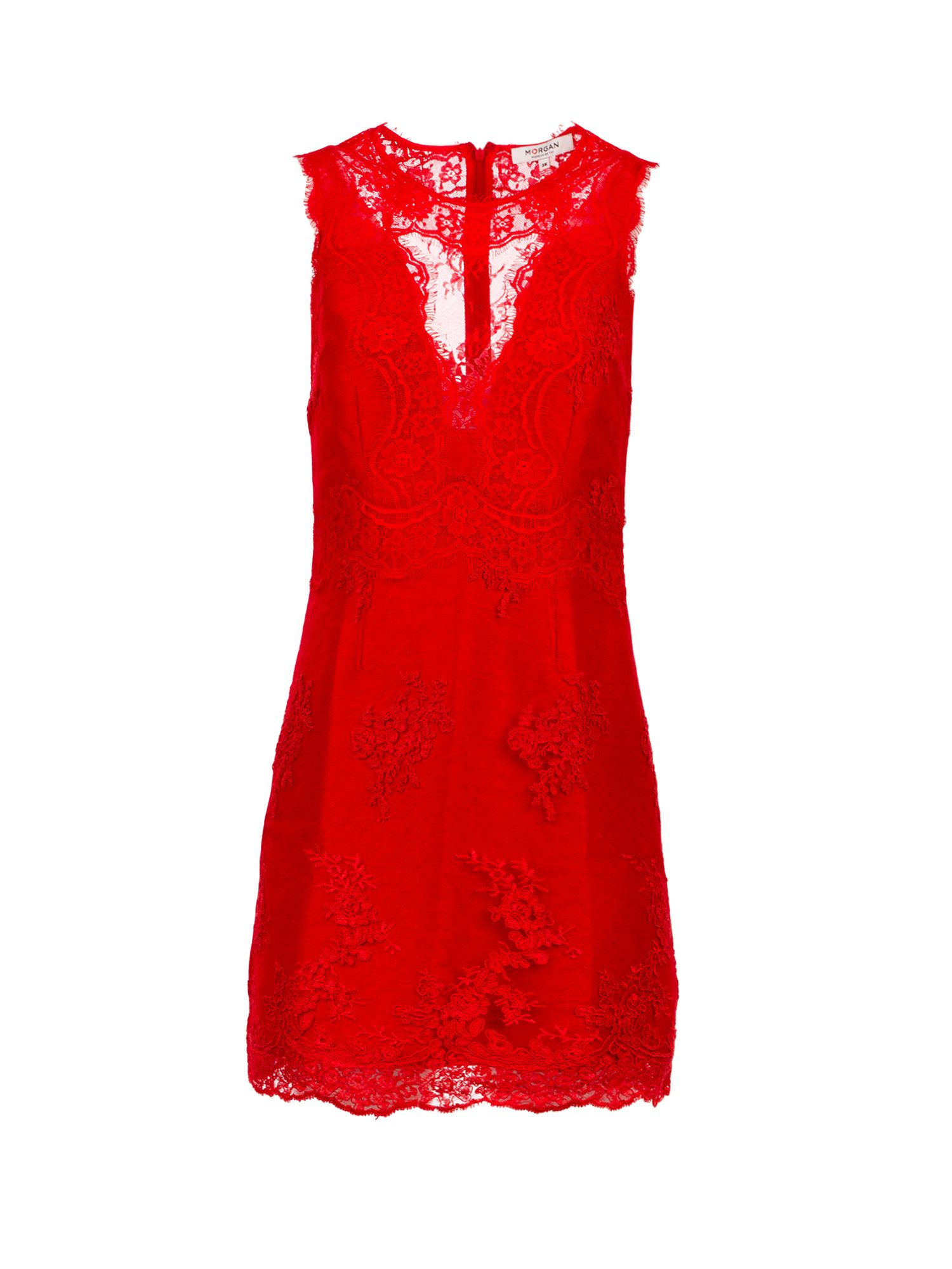 Morgan Textured Lace Dress, Red