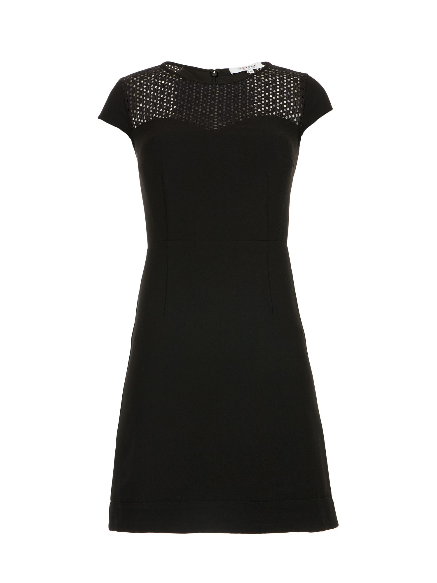 Morgan Openwork Knit And Crepe Dress, Black