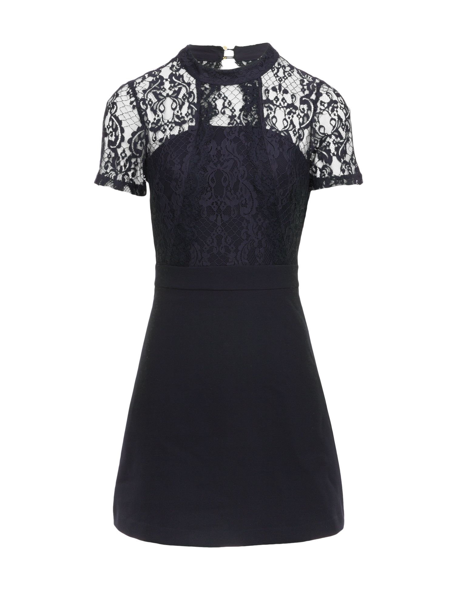 Morgan Lace And Crepe Flare Dress, Blue