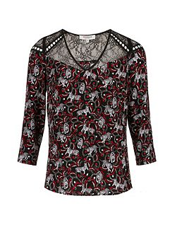 Tigers Print And Lace Blouse